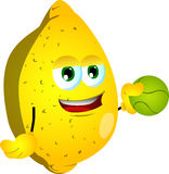 Lemon holding a tennis ball Royalty Free Stock Image