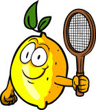 Lemon holding a tennis rocket Royalty Free Stock Photo