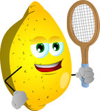Lemon holding a tennis rocket Stock Images