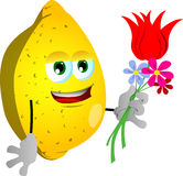 Lemon holding tulip and other flowers Stock Images