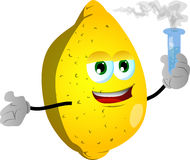 Lemon holds beaker of chemicals Royalty Free Stock Images