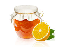 Lemon homemade jam marmalade in a glass bowl, clipping path Royalty Free Stock Photo
