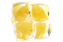 Lemon and ice. On a white background Royalty Free Stock Photo