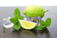Lemon with ice. And mint Royalty Free Stock Images