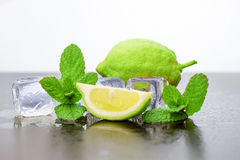 Lemon with ice. And mint Royalty Free Stock Photos