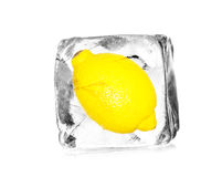 Lemon in ice bucket Royalty Free Stock Images