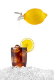 Lemon ice cold cola drink. Stock Photo
