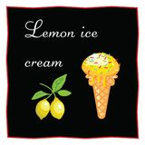 Lemon ice cream. Dessert on a black background for the menu of the restaurant and cafe. Lemons on a branch. Icon of food on a whit. E background Stock Photo