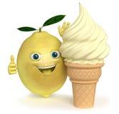 Lemon ice cream Stock Photo