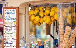 Lemon ice cream kiosk in Capri Stock Images