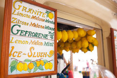 Lemon ice cream kiosk in Capri stock photos