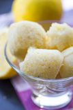 Lemon ice cream sorbet, balls in glass, refreshing summer diet. Dessert Royalty Free Stock Photo