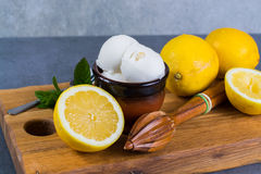 Lemon ice cream sorbet served for dessert with mint leaves and l. Lemon ice cream sorbet served for dessert on wooden plank in small bowl stock photos