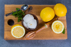 Lemon ice cream sorbet served for dessert with mint leaves and l. Lemon ice cream sorbet served for dessert on wooden plank in small bowl royalty free stock photos
