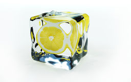 Lemon In Ice Cube Royalty Free Stock Photo