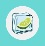 Lemon in ice cube flat design Royalty Free Stock Image