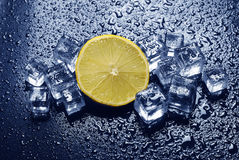 Lemon and ice cubes Stock Photo