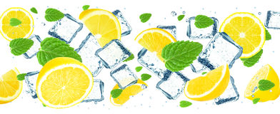 Lemon and ice cubes Royalty Free Stock Photos