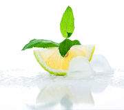 Lemon, ice and mint. Lemon slice with a branch of mint and ice on a white background Royalty Free Stock Image