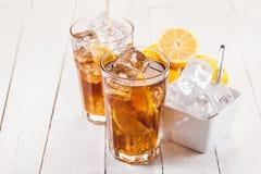 Lemon Ice Tea on white wooden table Stock Photos