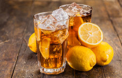 Lemon Ice Tea on wooden table Royalty Free Stock Photo