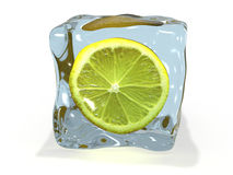 Lemon in ice Royalty Free Stock Images