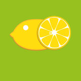 Lemon icon. Nice juicy fresh Lemon yellow on a green  background Royalty Free Stock Photos