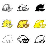 Lemon icons set. Yellow lemon icons vector set vector illustration
