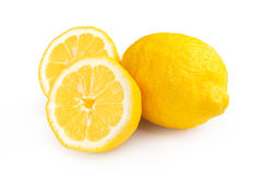 Lemon isolated on white background. Fresh ripe lemons isolated on white background. Lemon in a cut. Half of lemon Stock Images