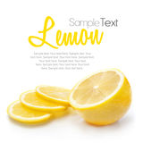Lemon isolated on white with text Royalty Free Stock Images