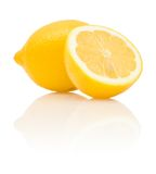 Lemon and its half with reflection Royalty Free Stock Photo