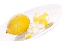 Lemon and its peel Stock Images