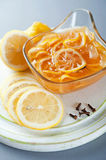 Lemon jam. Delicious jam lemon, lemon slices in syrup, in gravy, good for the flu and tea, jam on board, autumn for winter, seasonings, healthy, vitamins, cake Stock Photos