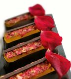 Lemon jelly and chocolate desserts with fresh edible rose petals. On white background royalty free stock photos