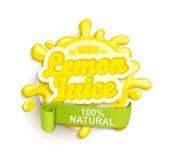 Lemon juece label splash. Stock Photography