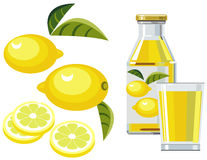 Lemon juice with bottle, glass and lemons. Illustration of bottle of lemon juice with lemon, lemon slices, leaves and glass Royalty Free Stock Photography