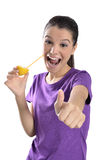 Lemon juice drinking woman Stock Photography