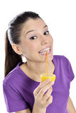 Lemon juice drinking woman Stock Photos