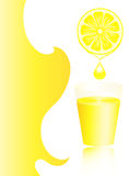 Lemon juice in a glass with copy space. Royalty Free Stock Images