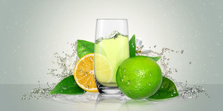 Lemon juice glass and lime fruit. Stock Image