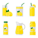 Lemon juice isolated icons on white background. Lemon juice bottle, glass, pack set. Flat style vector illustration Royalty Free Illustration