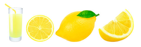 Lemon juice and lemon slices Royalty Free Stock Image