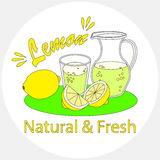 Lemon juice. Lemonade with glass and carafe on white background Stock Photo