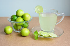 Lemon juice, Lime juice and limes in glass bowl. Stock Photography
