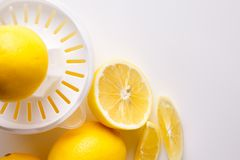 Lemon and juice on a white background.  Royalty Free Stock Images