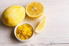 Lemon and juice on a white background.  Stock Image