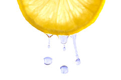 Lemon juicy. Squeeze juicy lemon & drop isolated on white in studio. Close-up image Royalty Free Stock Photo