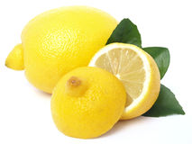 Lemon. Juicy lemon on a white background Stock Photos