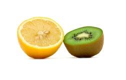 Lemon and kiwi. Ripe juicy halves of lemon and kiwi. Isolation Royalty Free Stock Photography