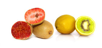 Lemon kiwi strawberry figs isolated Stock Photography